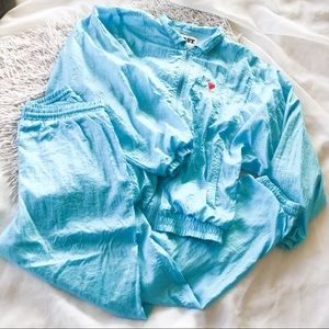 VINTAGE 90's aqua blue windbreaker coord set